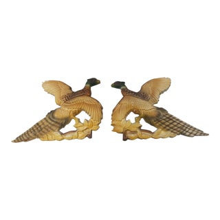 Ceramic Pheasant Wall Hangings - A Pair