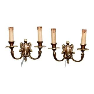 European Bronze Two Light Sconces - A Pair
