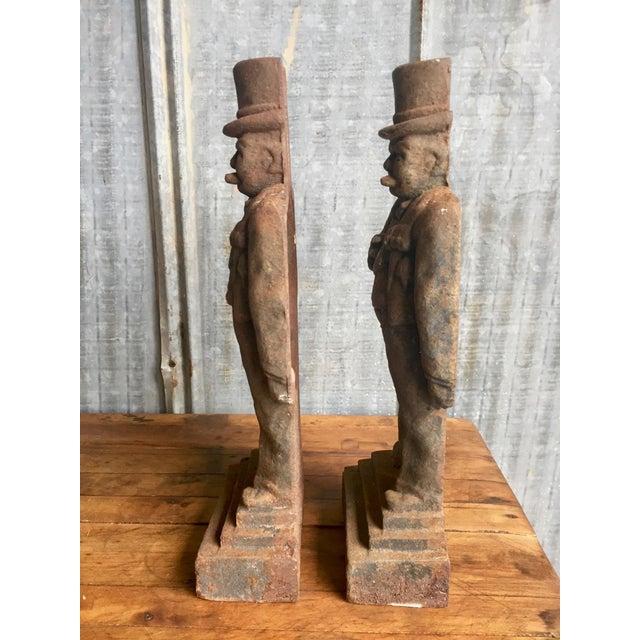Antique Winston Churchill Cast Iron Andirons - A Pair - Image 7 of 10
