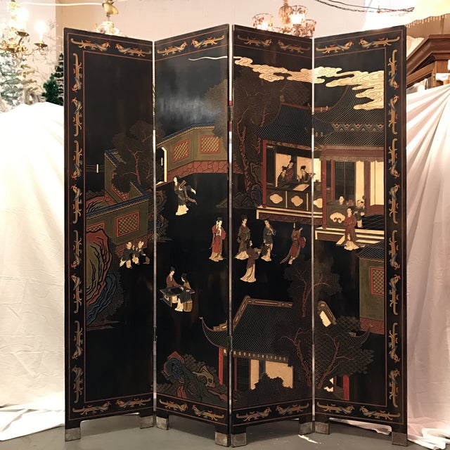 Vintage or Antique Japanese 4 Panel Room Divider - Image 2 of 11 - Vintage Or Antique Japanese 4 Panel Room Divider Chairish