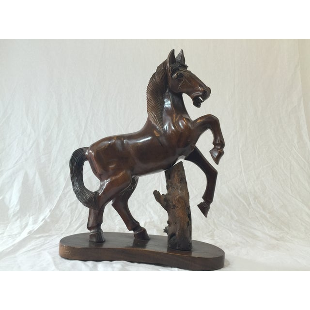 Carved Wooden Horse on Wood Stand - Image 9 of 10