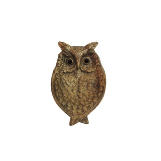 Vintage Italian Gold Owl Jewelry Dish with Jewel Eyes