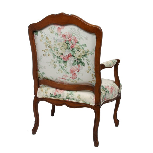 Hollywood Regency-Style Wood Arm Chair - Image 6 of 10