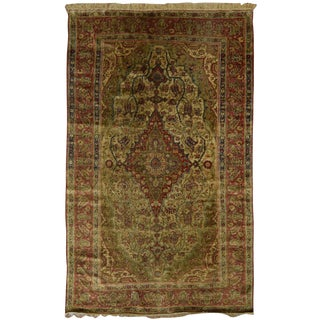 Antique Persian Silk Kashan Mohtashem Rug
