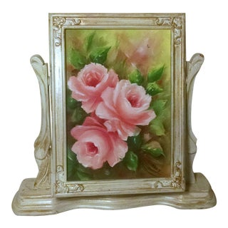 Vintage Swivel Stand With Signed Floral Painting