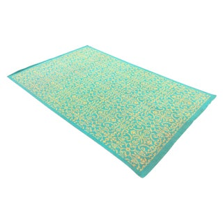 Yellow & Turquoise French Rug - 5′7″ × 8′10″