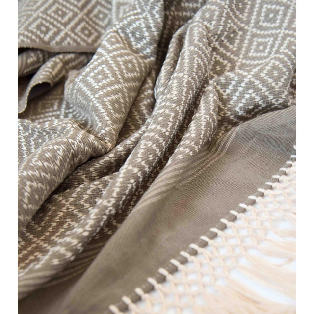 Taupe & Cream Handwoven Mexican Throw - Image 3 of 4
