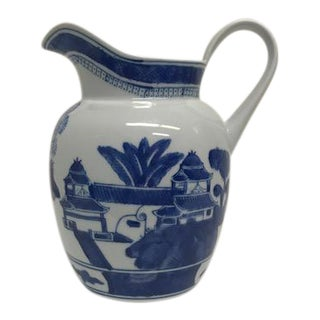 Blue and White Chinoiserie Pitcher