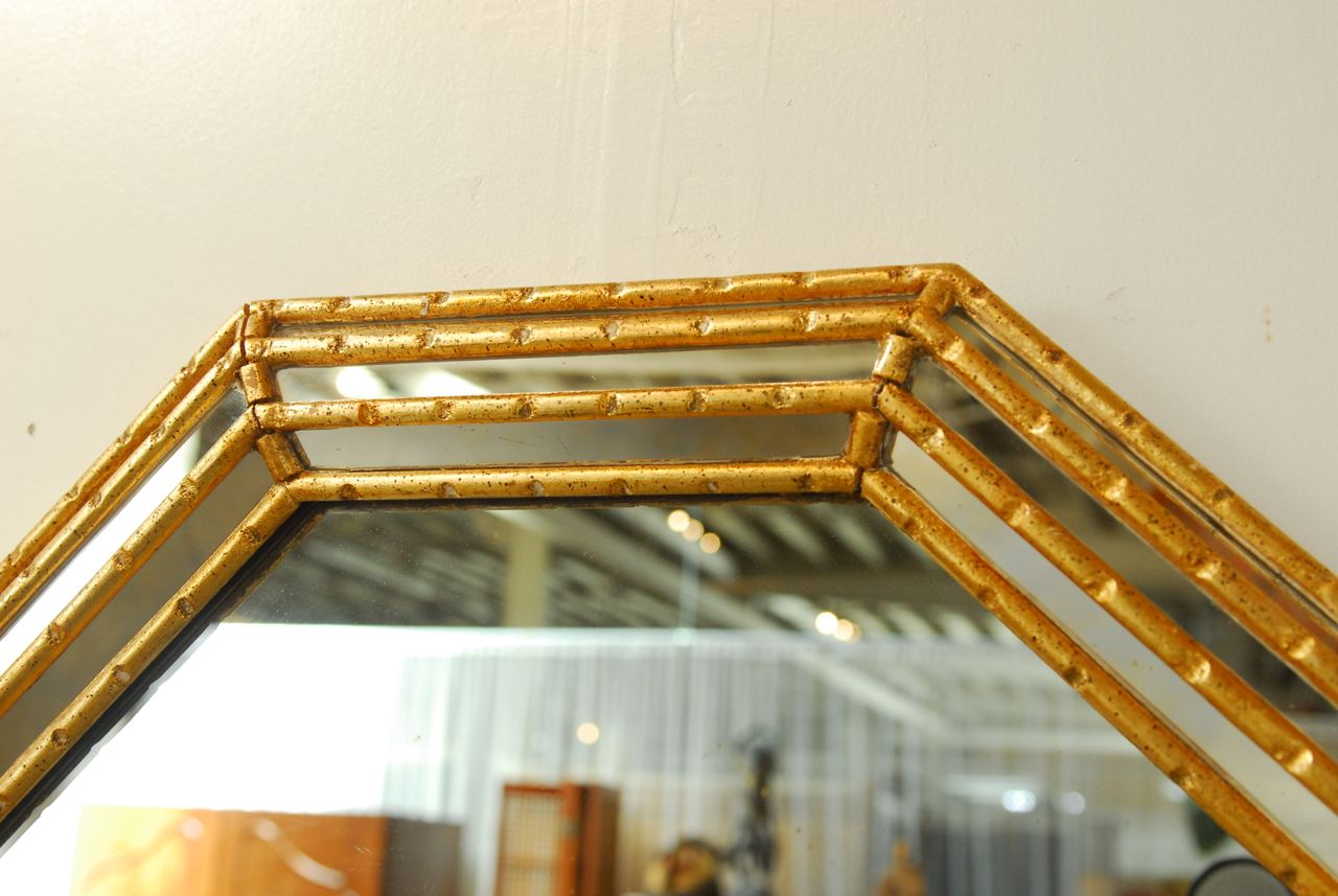 image of midcentury labarge octagonal faux bamboo mirror