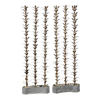 Pair of French Mid-Century Tall Metal Plant Sculptures in Zinc Bases