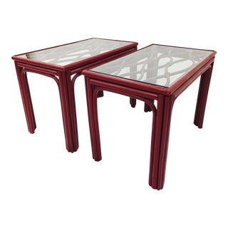 Painted Rattan & Glass Side Tables - A Pair