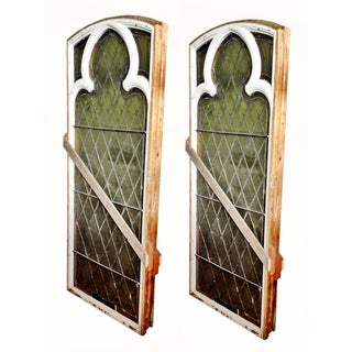 Stained Glass Windows Antique Pair