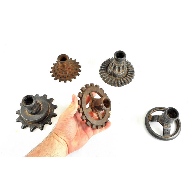 Vintage Factory Gears Candle Holders - Set of 5 - Image 3 of 10