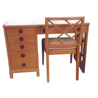 Landstrom Five Drawer Writing Desk with Chair