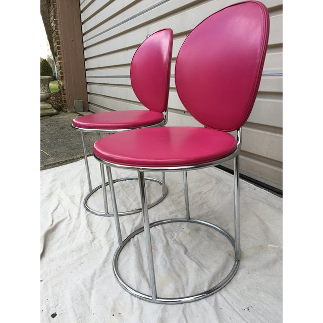 Mid Century Pink Vinyl Accent Chairs - a Pair - Image 6 of 6