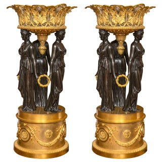 Palatial Dore & Patented Bronze Planters - A Pair