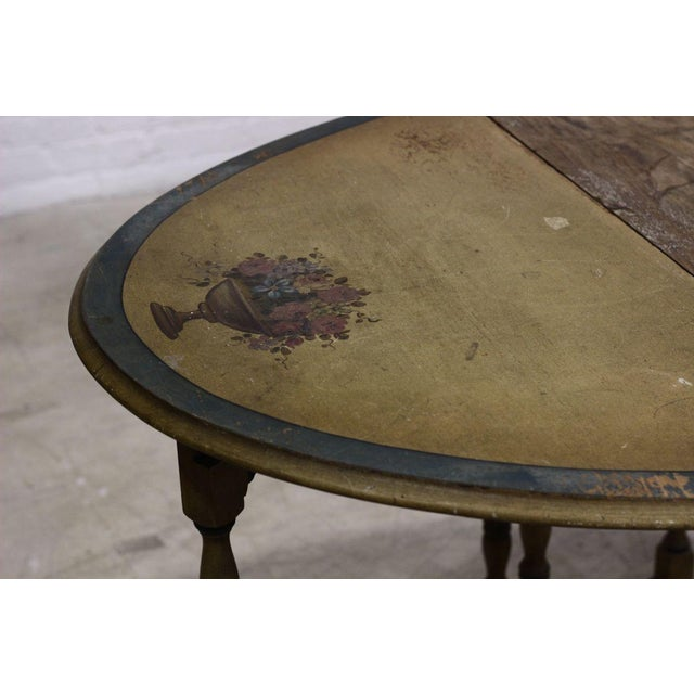 Image of Painted Wooden Table With Two Leaves and Spindles