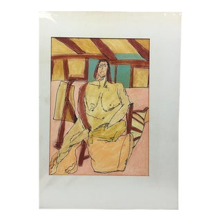 Charles M. Bowdlear Nude Ink & Crayon on Paper