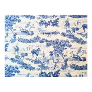 "10 Yds. Rare Ralph Lauren ""And They're Off"" Equestrian Toile Blue White Fabric"