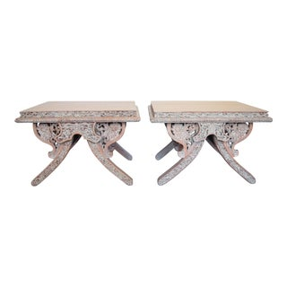 Carved Wood Side Tables - Pair