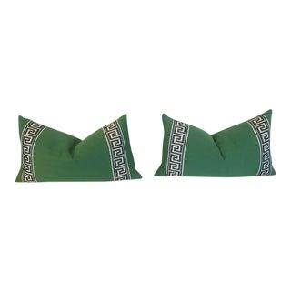 A Pair of Custom Greek Key Lumbar Pillow Covers