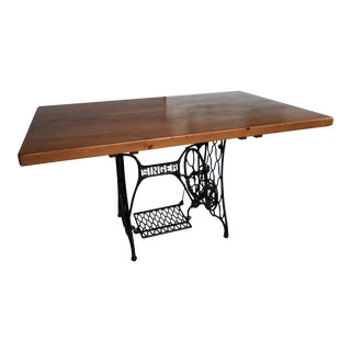 Industrial Cast Iron Singer Sewing Machine Console Table