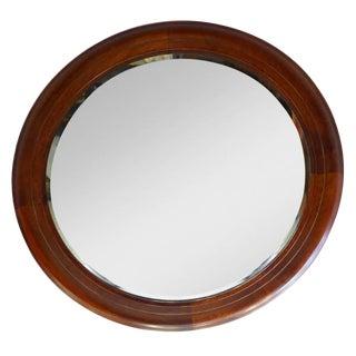 Mid-Century Round Mahogany Mirror