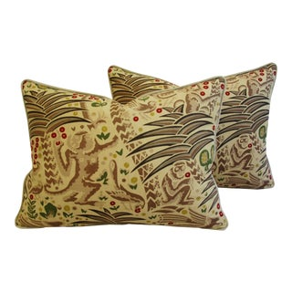 Designer Clarence House Gibbon Fabric Pillows - Pair