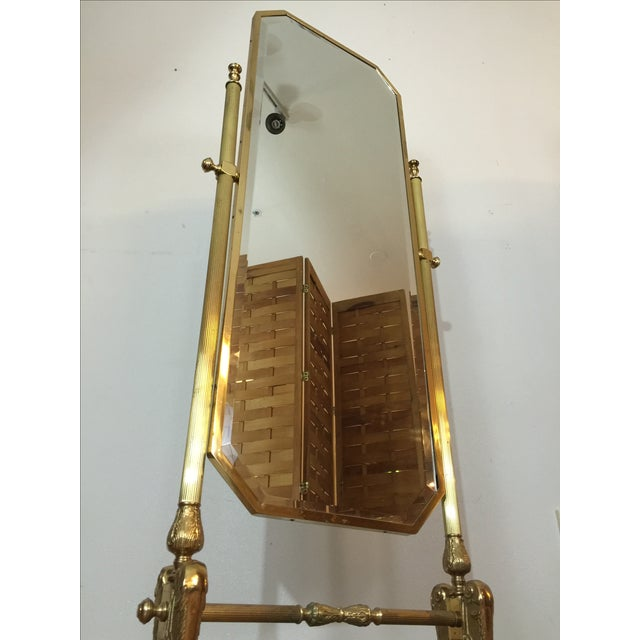 Vintage Brass Cheval Standing Floor Mirror Chairish