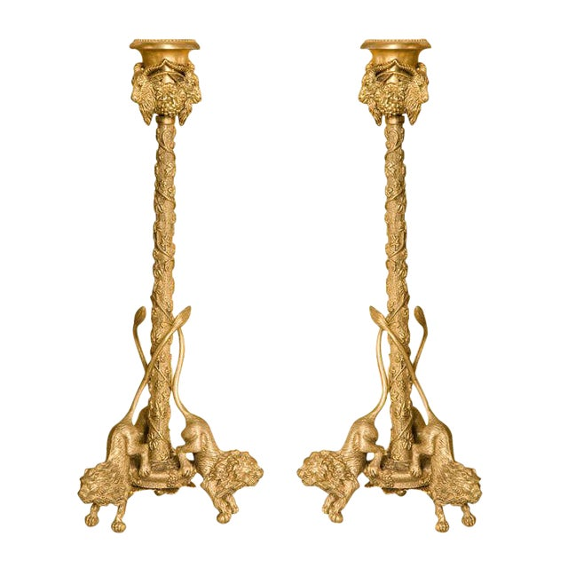 Pair Renaissance-Style Gilt Bronze Candlesticks - Image 1 of 10