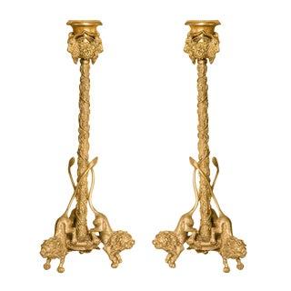 Pair Renaissance-Style Gilt Bronze Candlesticks