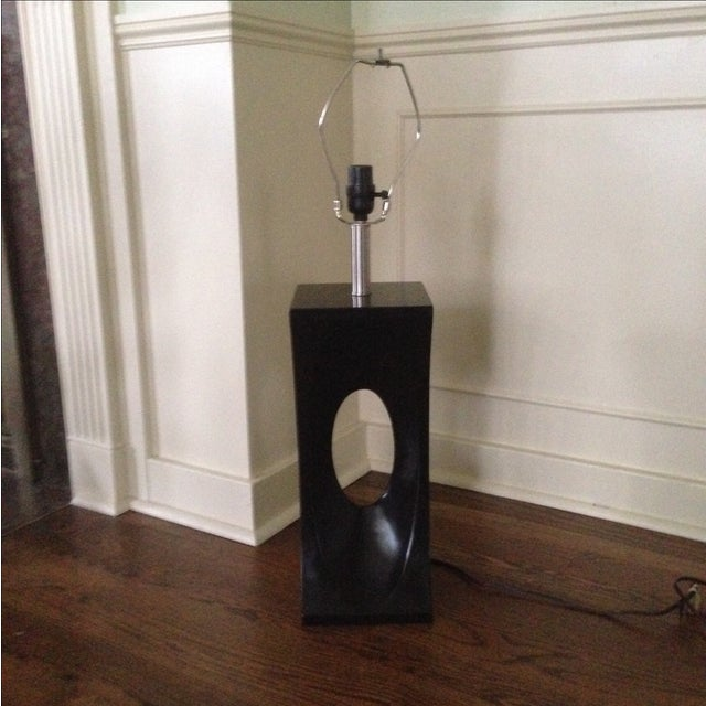 Mid-Century Modern Style Black & Chrome Lamp - Image 2 of 9
