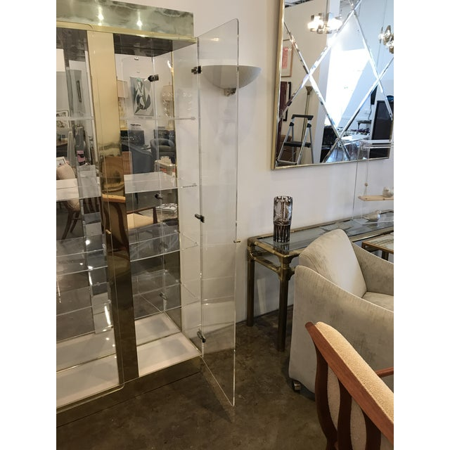 Tall Lucite, Mirror and Gold Tone Metal Cabinet with Upper and Lower Lighting - Image 9 of 10