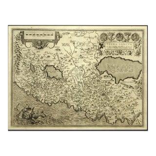 Engraving Depicting 16th Century Map of Terra Sancta