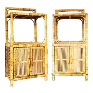 Vintage Rattan Side Tables - A Pair