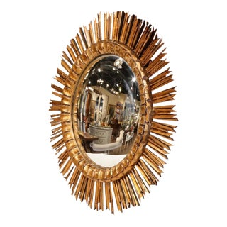 Mid-Century French Sunburst Mirror with Gilt Finish & Convex Mirror
