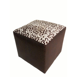 Cow Hide & Faux Leather Stool