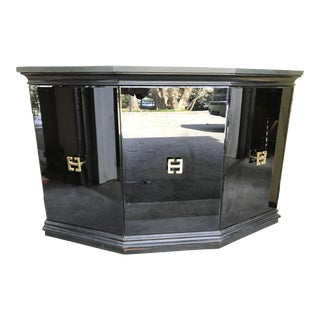 Vintage Hollywood Regency Style Black Mirrored Glass Demilune Cabinet