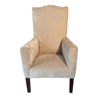 Mid-Century High-Back Ivory-Chenille Side Chair