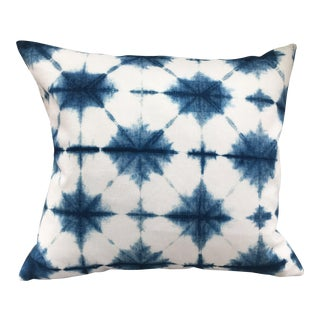 Blue and White Linen Shibori Pillow
