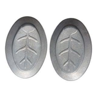 Vintage Cast Aluminum Silver Trays - A Pair