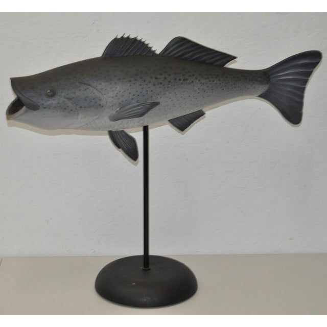 Image of Rare George Strunk Carved & Painted Bass on Stand
