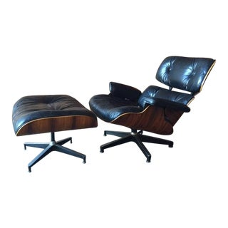 Original Eames Herman Miller 1975 Rosewood Leather Chair with Ottoman