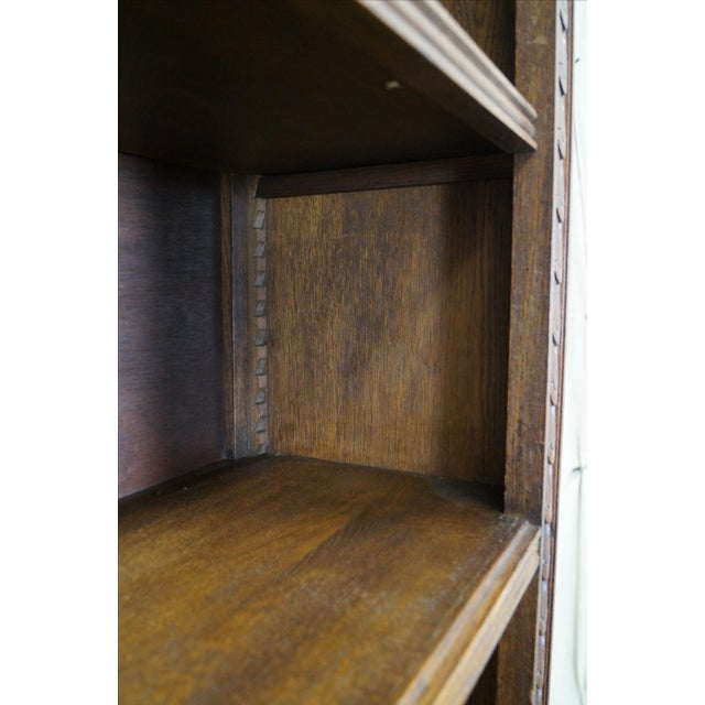 English Tudor Oak Large Open Bookcase - Image 6 of 10