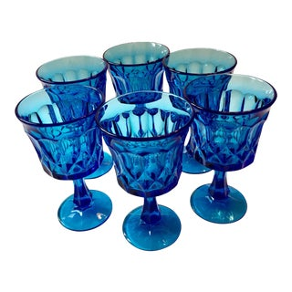 Noritake Blue Glass Goblets - Set of 6