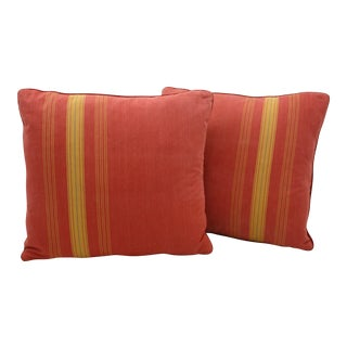 French Red & Yellow Ticking Pillows - A Pair
