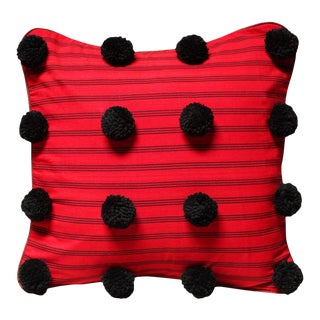 Red Lurik Pillow with Black Pom-poms