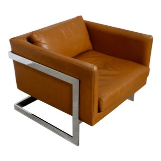 "Original Leather ""Cube"" Chair by Milo Baughman"