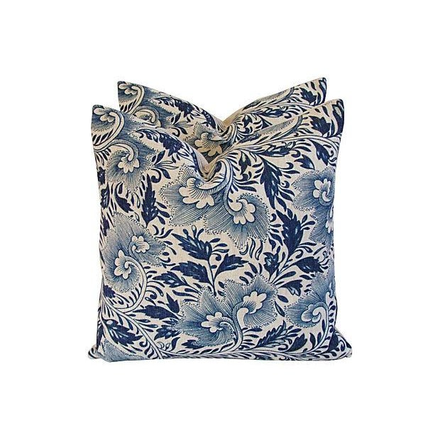 Image of Blue Floral Linen Down/Feather Pillows - A Pair