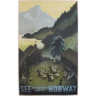 1937 Vintage Norwegian Travel Poster, Bright Summer Nights of Norway